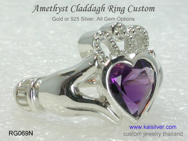 amethyst ring claddagh custom