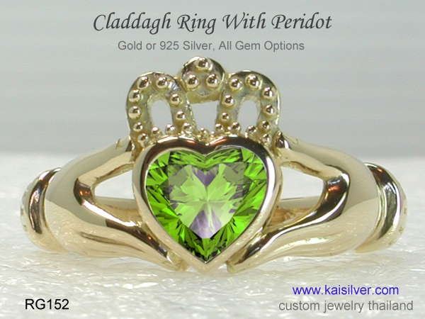 claddagh ring with peridot